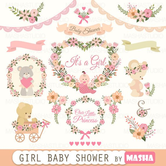 """Baby shower clipart: """"Girl Baby Shower clipart"""" with pink flower."""