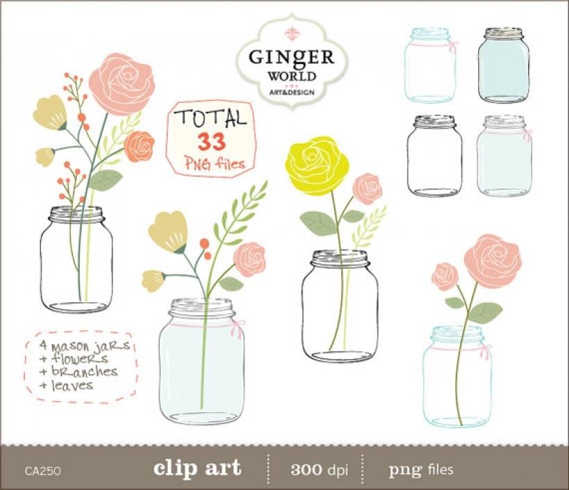 mason jar clip art flowers clipart pink rose flower gingerworld.