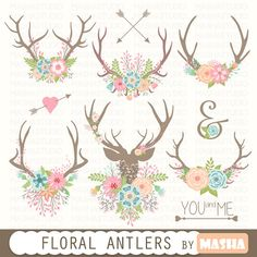 """Rustic Antlers Clipart. """"TRIBE AND FLOWER"""". Tribal Antlers, Arrows."""