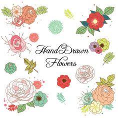 Watercolor Floral Wedding Elements, Clipart, PNG, Vintage Flowers.