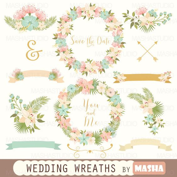 "Flower clipart: ""WEDDING WREATHS CLIPART"" with wedding clipart."