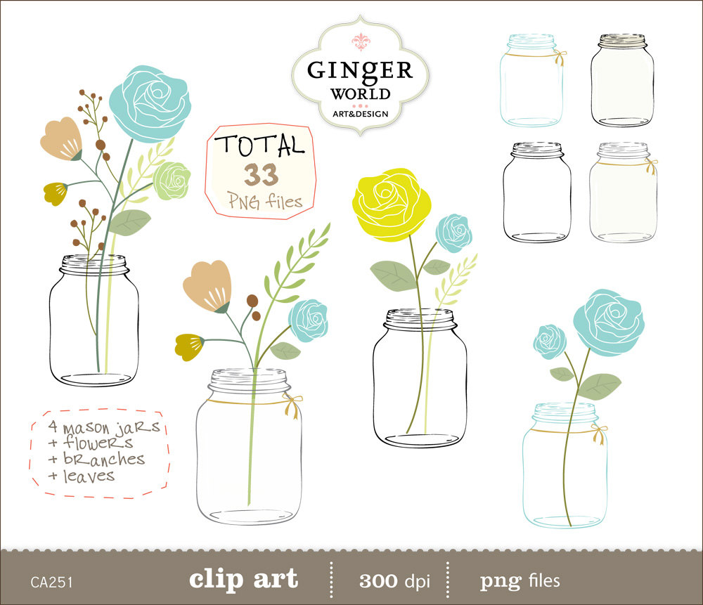 Mason Jar clip art, Flowers clipart , Turquoise flower.