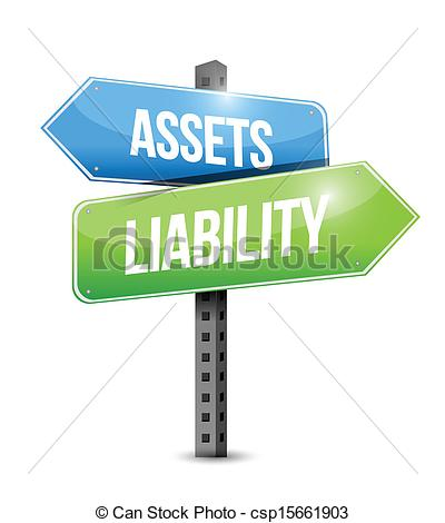 Vector Clipart of assets liability road sign illustration design.