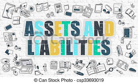 Clipart of Multicolor Assets And Liabilities on White Brickwall.
