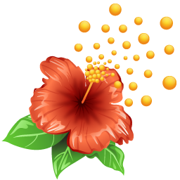 Hibiscus With Pollen Icon, PNG ClipArt Image.