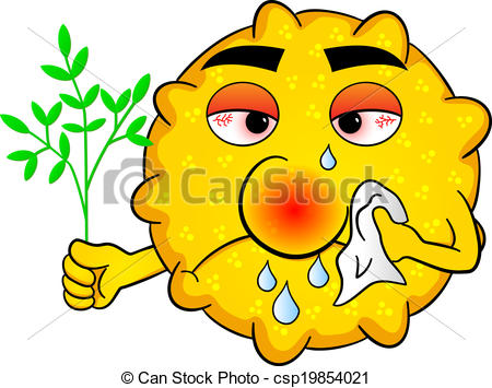 Vector Illustration of pollen with hay fever.