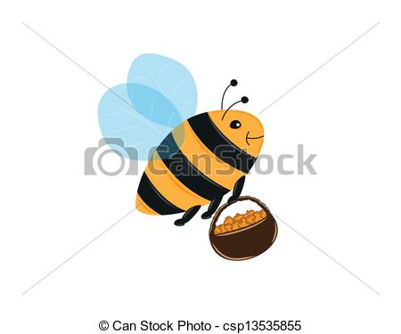 Clipart Vector of flying bee and basket full of pollen or honey.