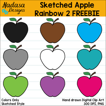 Hadasa Designs: Sketched Apple Rainbow Set 1 FREEBIE: This clip.