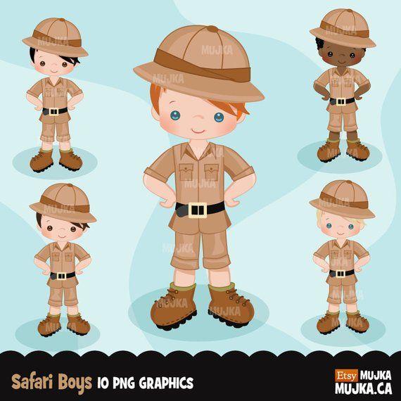 Safari boy Clipart. Boy scouts Safari camping graphics.