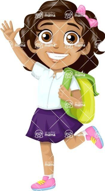 Happy waving school girl with rucksack cartoon character.