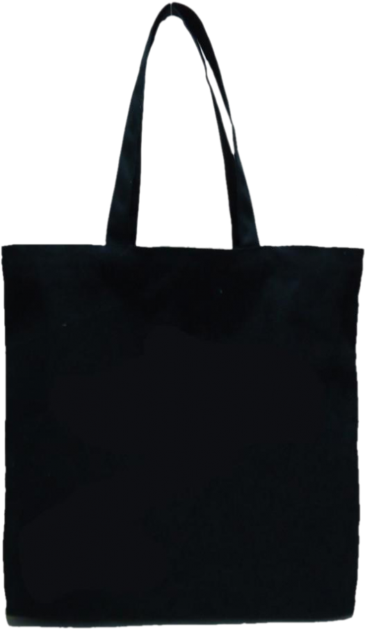 Black Cotton Tote Plain Canvas Tote Bag Png.