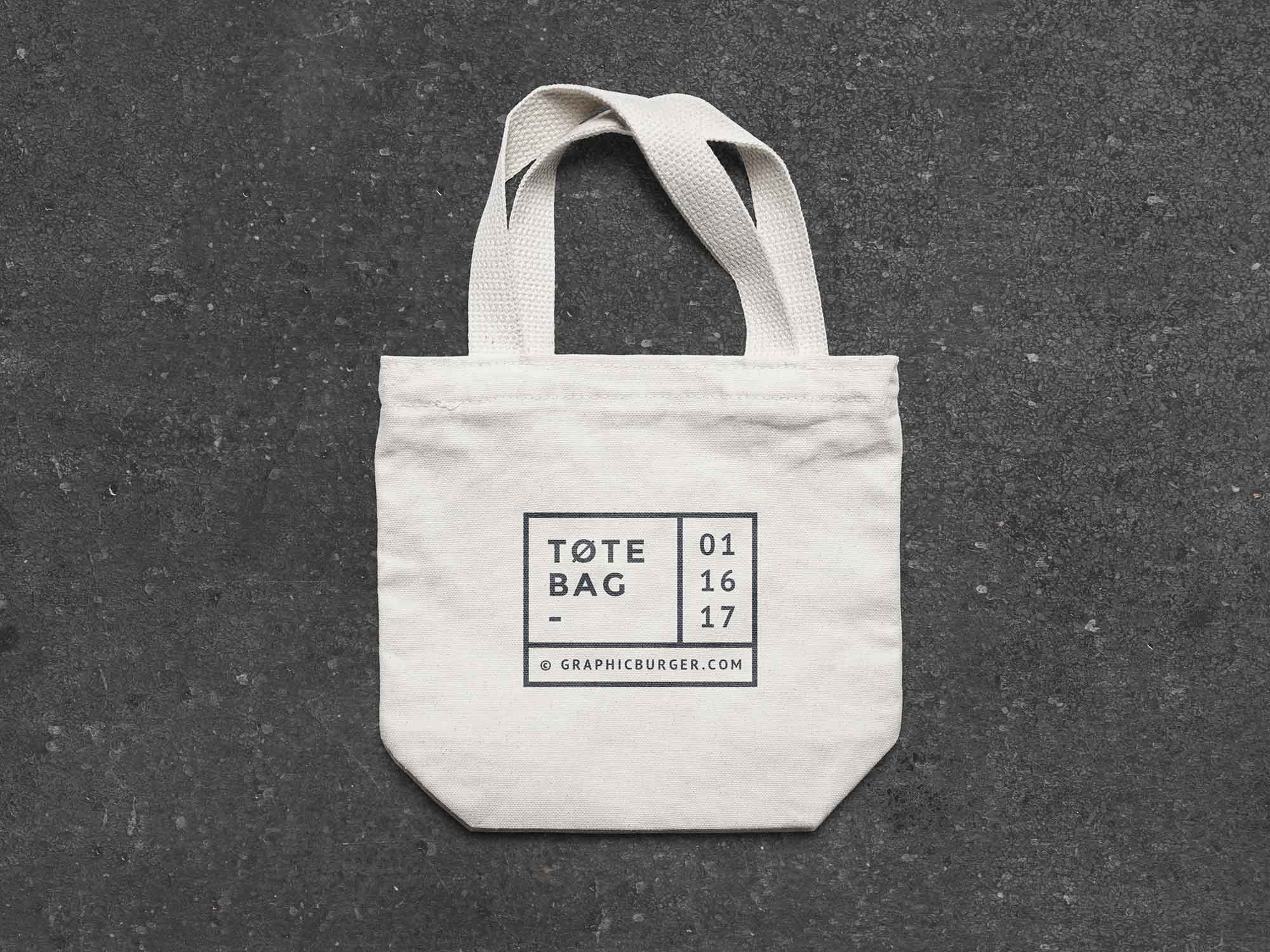 Free Small Canvas Tote Bag Mockup (PSD).