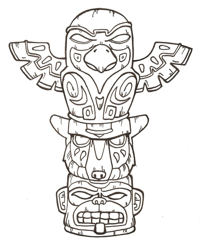 Simple totem pole black and white clipart color pages.