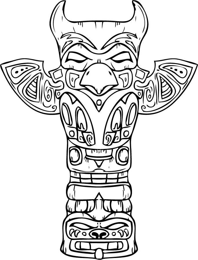 Free Printable Totem Pole Coloring Pages For Kids.