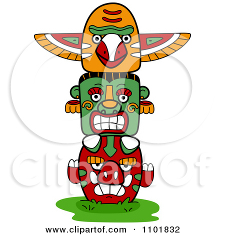 Clipart Native American Totem With Three Faces.