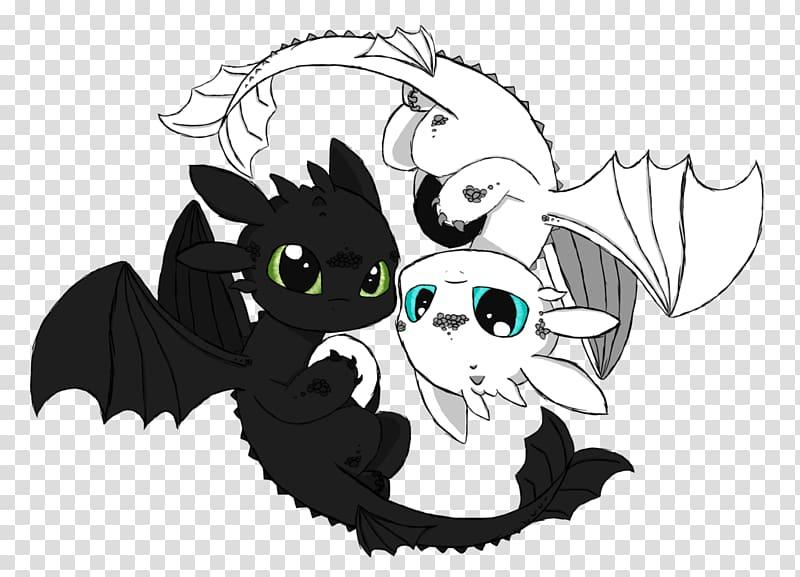 Toothless and white Night Fury Yin Yang illustration.