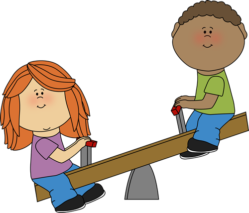 Kids on a Teeter Totter Clip Art.