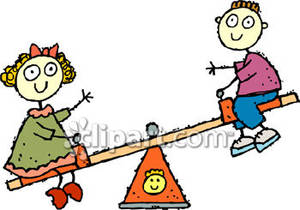 Boy and a Girl on a Teeter Totter.