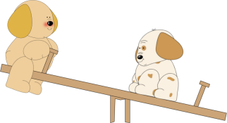 Puppies on a Teeter Totter Clip Art.