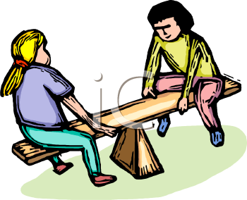 Royalty Free Clipart Image: Girls on a Teeter Totter.