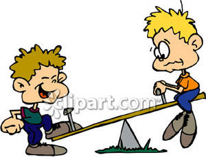 Boys Playing on a Teeter Totter Royalty Free Clipart Picture.