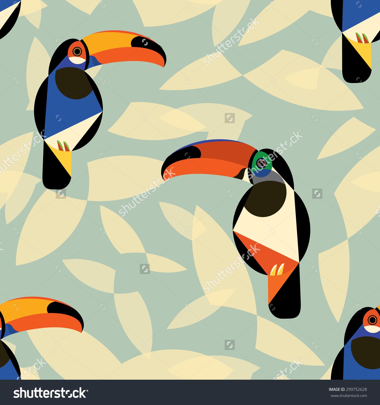 Toucan Bird Seamless Pattern Retro Colour Stock Vector 299752628.