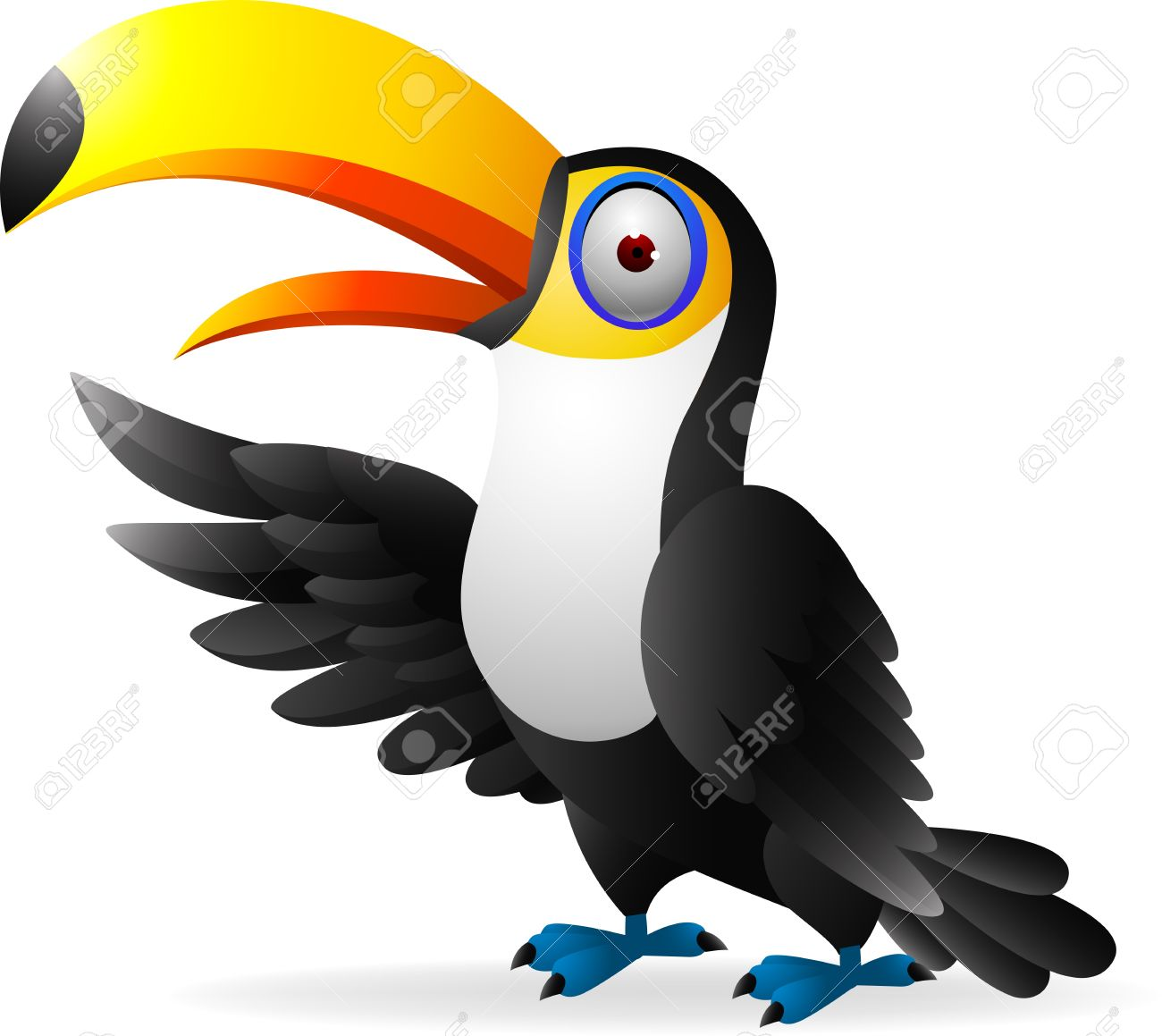 Illustratration Of Toucan Bird Waving Royalty Free Cliparts.