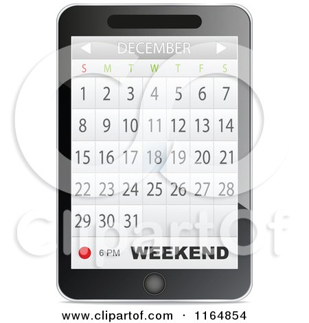 Clipart of a Touch Phone with a Calendar App Open.