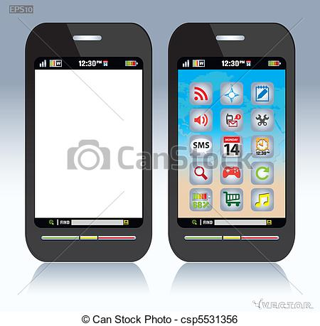 Clip Art Vector of Cell phone.