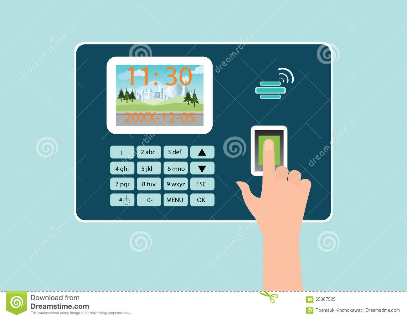 Human Hand Touch Screen With Fingerprint In Time Recorder Machine.