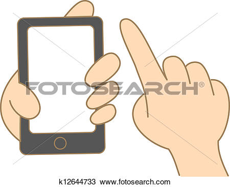 Clipart of cartoon drawing of hand hold and use touch screen.