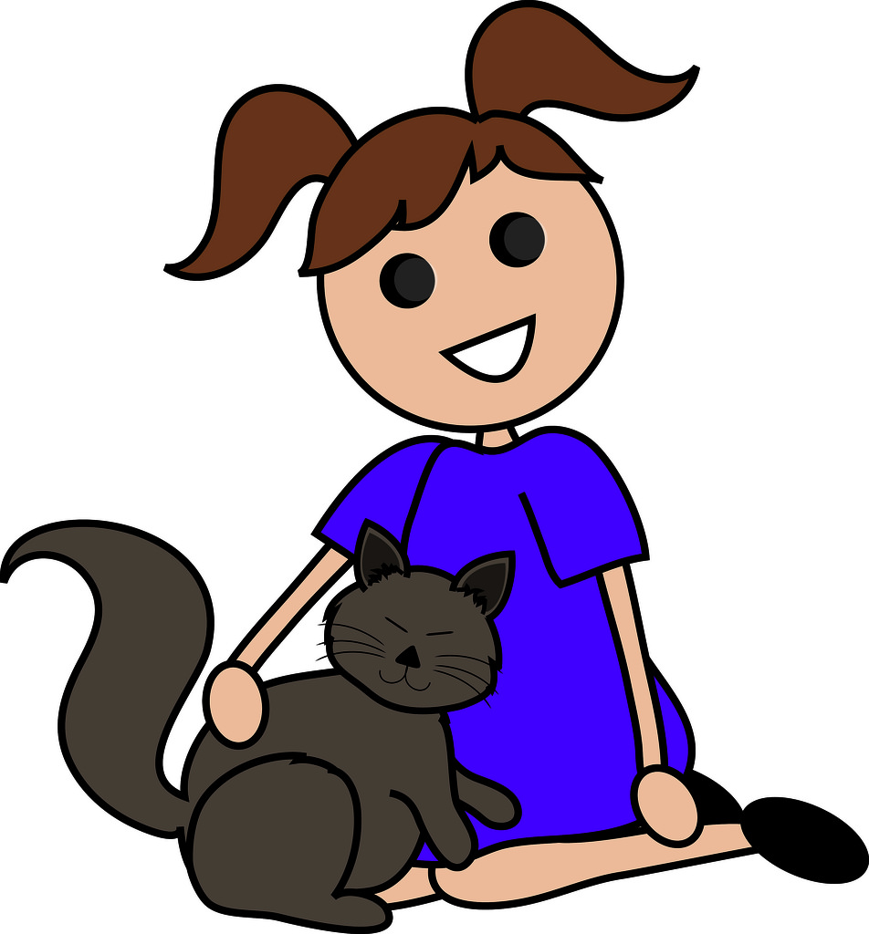 Touching A Dog Clipart.