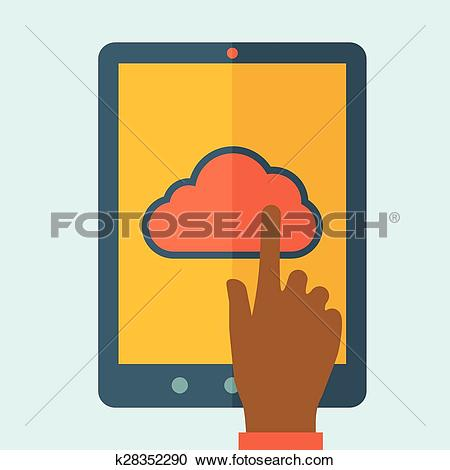Clipart of Finger touching cloud. k28352290.