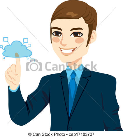 Vector Clipart of Businessman Touching Cloud Computing.