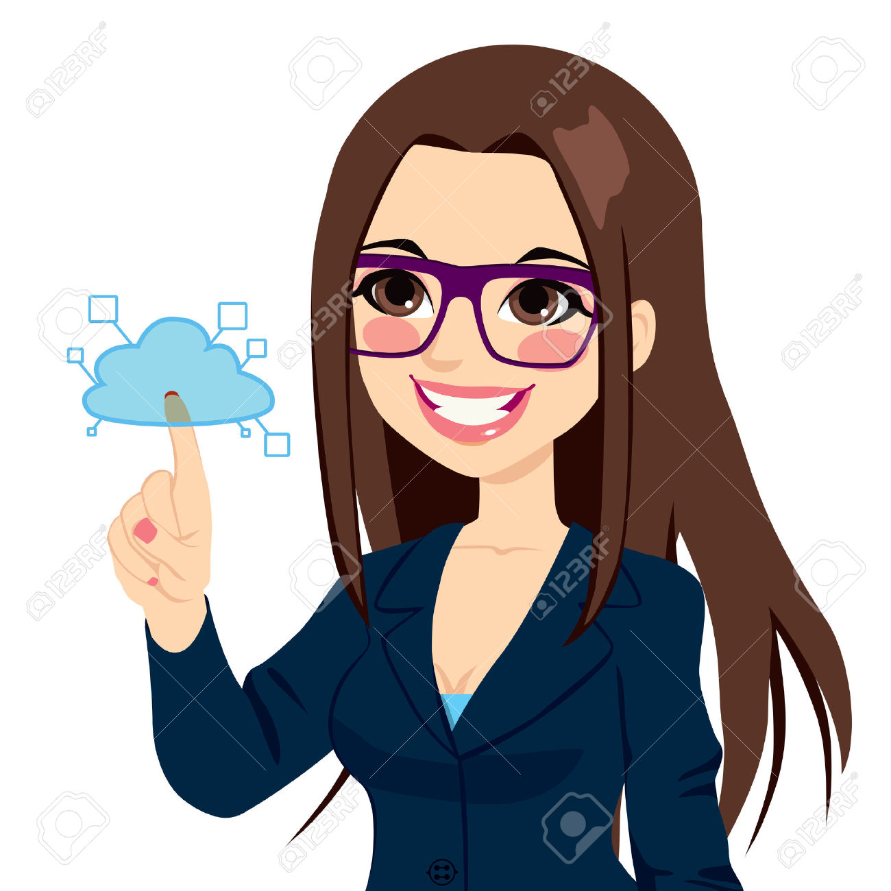 Young Businesswoman Touching Cloud Computing Services Concept.