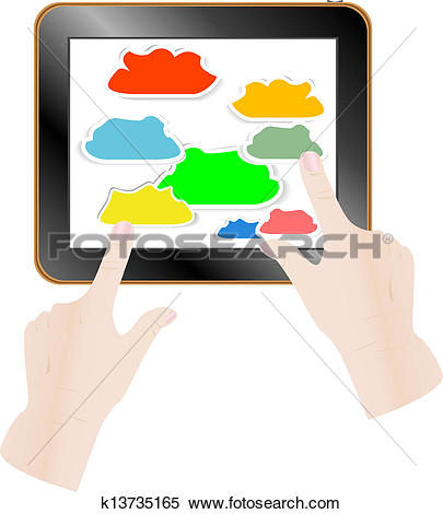Stock Illustration of Cloud computing concept. Finger touching.