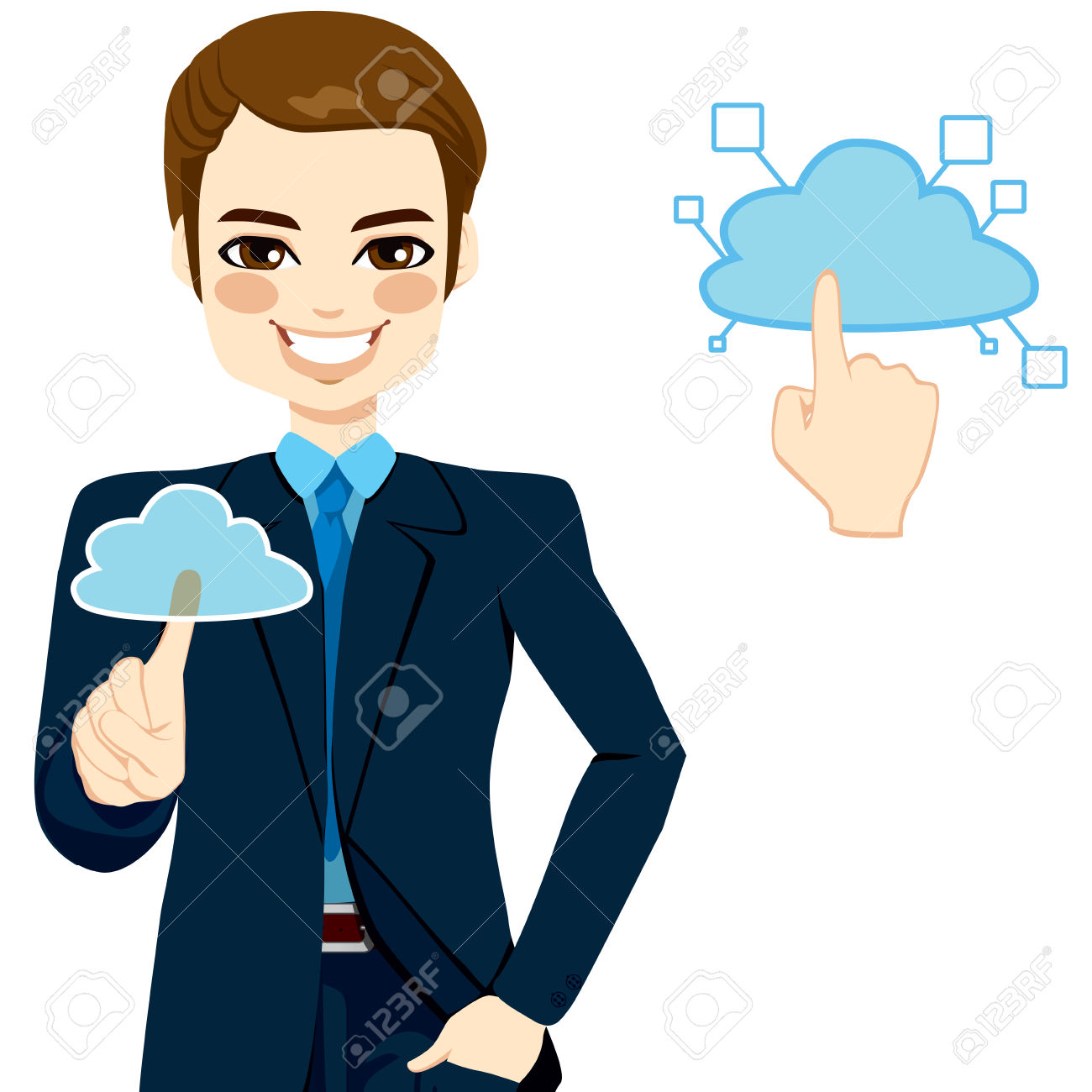 Handsome Businessman Touching The Cloud Accessing On.