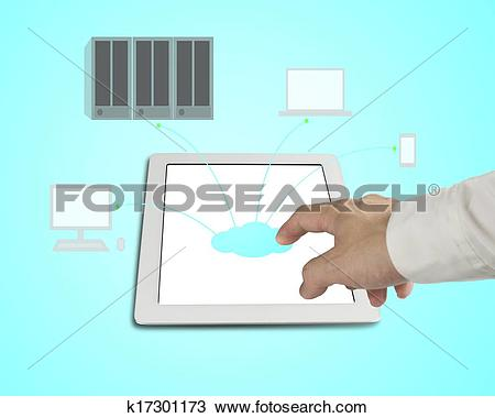 Stock Photo of Hand touching cloud icon on tablet, cloud computing.