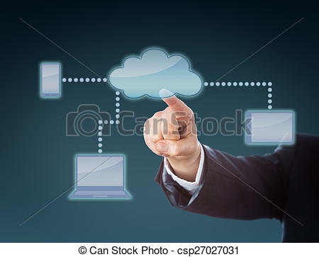 Stock Photos of Corporate Arm Touching Cloud Network Icon.