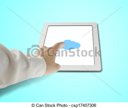 Stock Illustration of Hand touching cloud shape icon on tablet in.