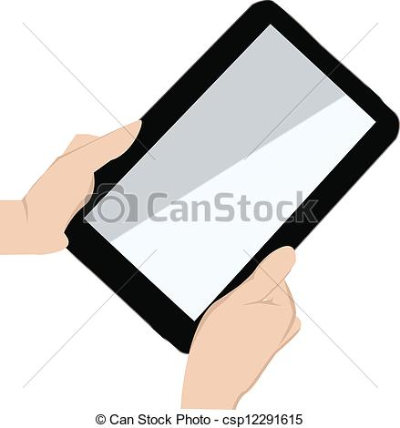 Vector Clip Art of hand holding a touchpad pc.