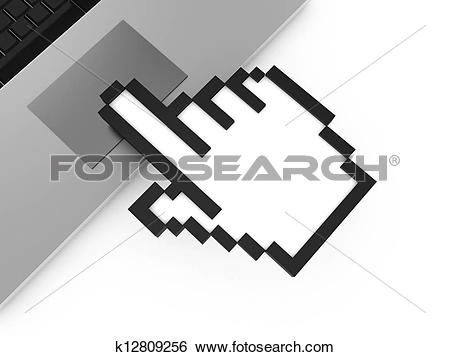 Stock Illustration of Hand Cursor Touching Touchpad k12809256.