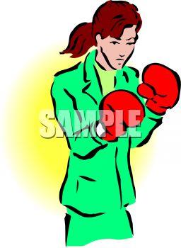 Tough Businesswoman Wearing Boxing Gloves.