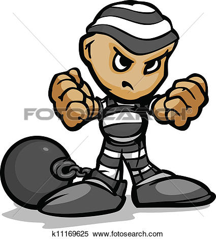 Clipart of Tough Guy Cartoon Prisoner with Ball and Chain Vector.