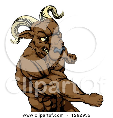 Clipart of a Black and White Muscular Tough Angry Ram Man Punching.