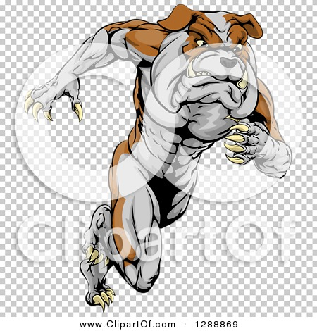 Clipart of a Muscular Tough Bulldog Man Mascot Sprinting Upright.
