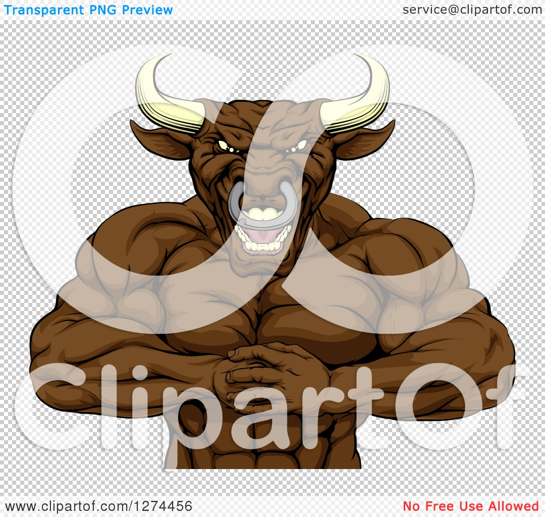 Clipart of a Tough Muscular Bull Man Punching One Fist into a Palm.