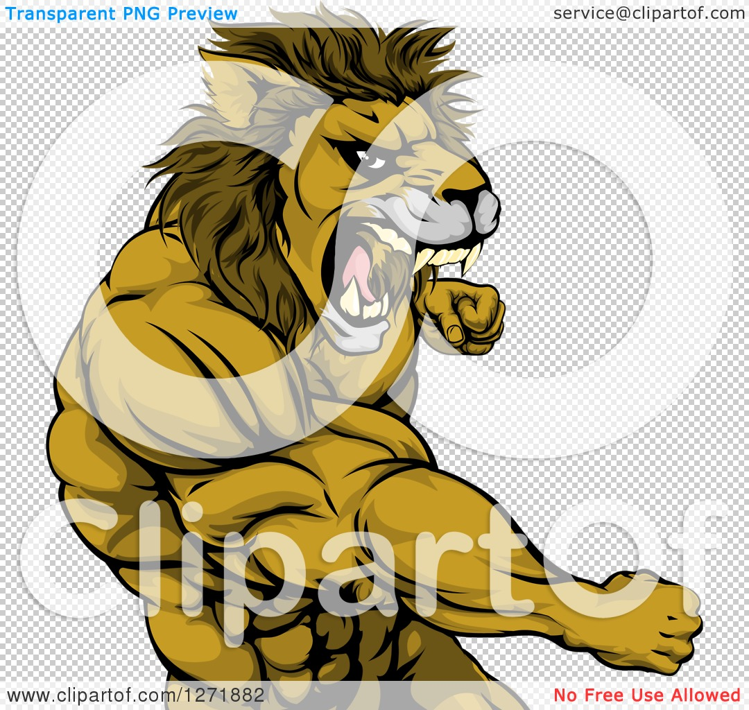 Clipart of a Tough Angry Muscular Lion Man Punching and Roaring.
