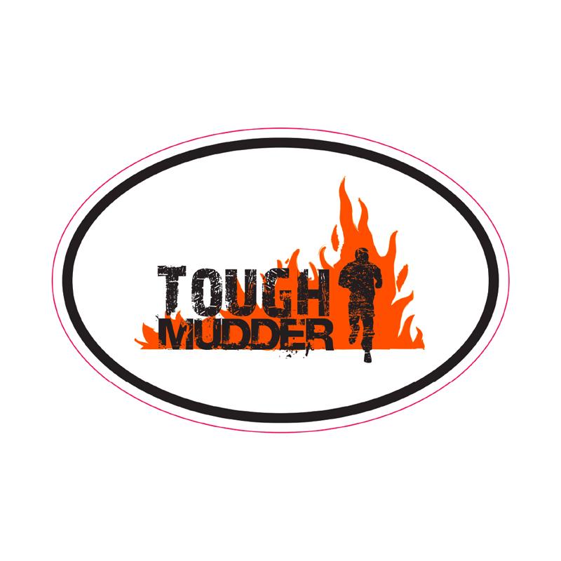 Tough Mudder White Oval Sticker.