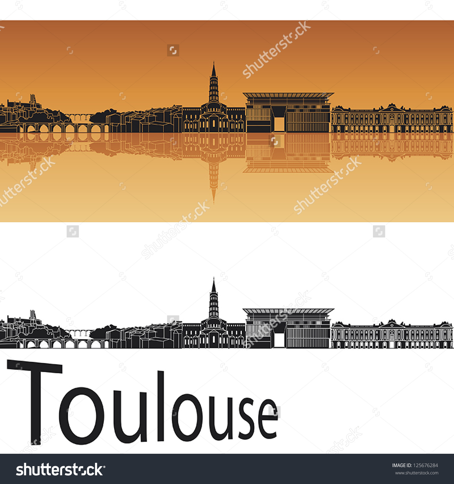 Toulouse Skyline Orange Background Editable Vector Stock Vector.